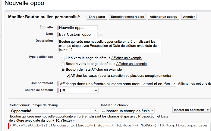 code bouton perso Salesforce