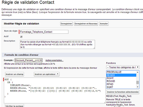 règle validation regex Salesforce