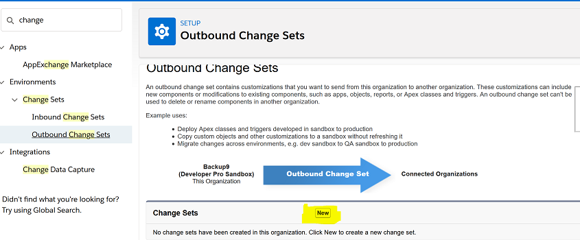 Create Outbound Change Set