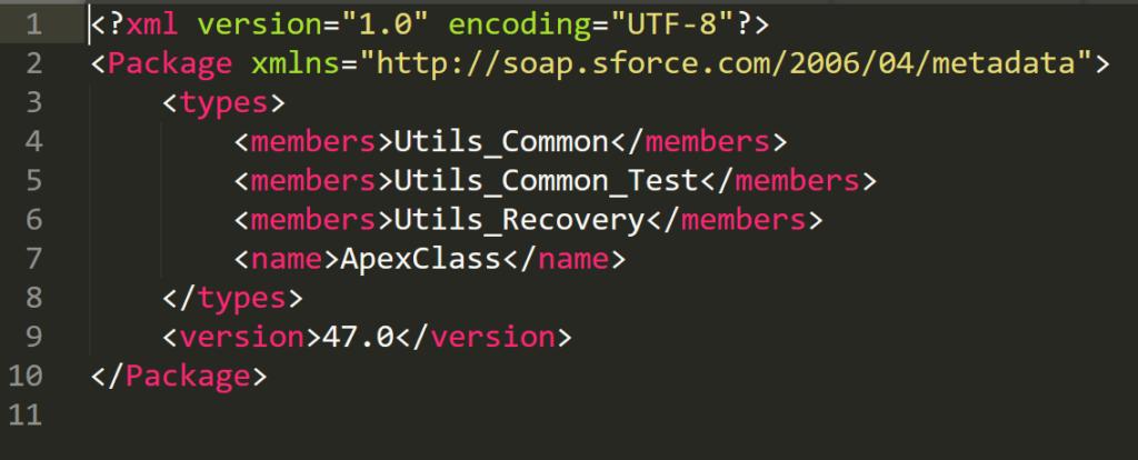 Package XML Classes Apex