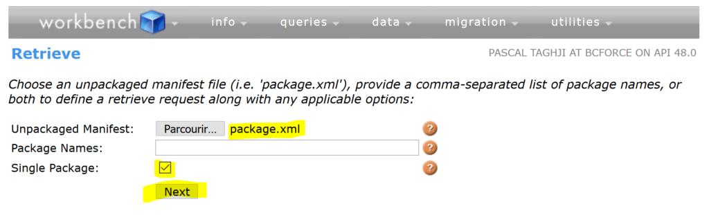 Workbench Recherche Package XML